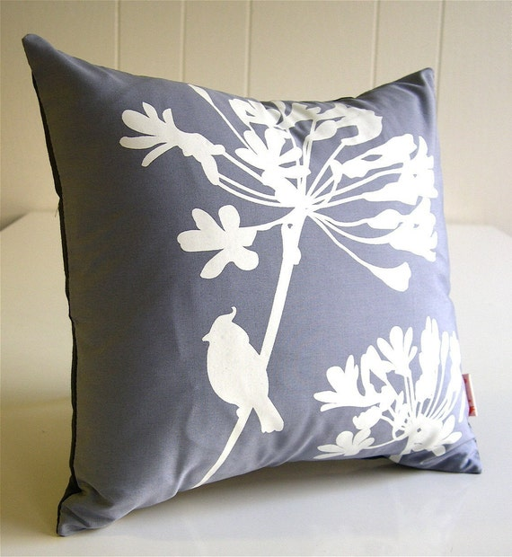 Slate Cardinal on Agapanthus-Mini 10.5 Inches Square Pillow