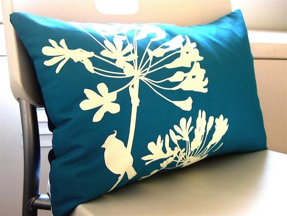 Teal Full Print Cardinal on Agapanthus Rectangle Pillow