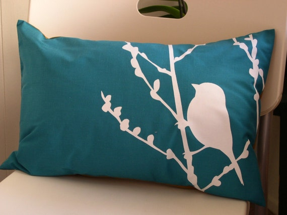 Teal Bird on Cherry Blossom Pillow