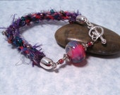 Lampwork and Kumihimo Bracelet in Multi colors