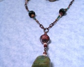 Funky Vintage Necklace with Lampwork Focal