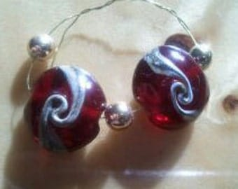 Ruby Swirled lampworked beads