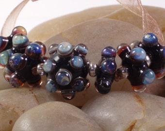 Lampwork Double Helix Bumpy Bead Set