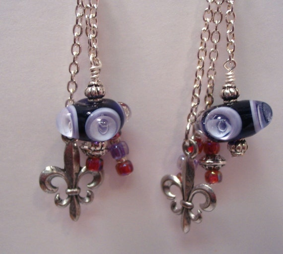 Lampwork Bead and Fleur di lis Earrings