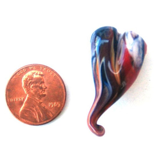 Organic Red Lampwork Heart Bead
