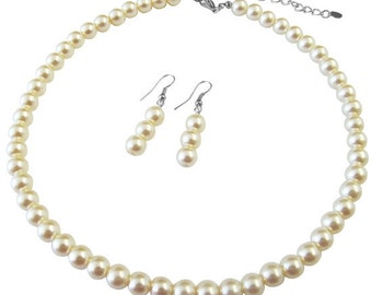 Ivory Pearl Necklace Earrings  Beautiful Set Free Shipping In USA