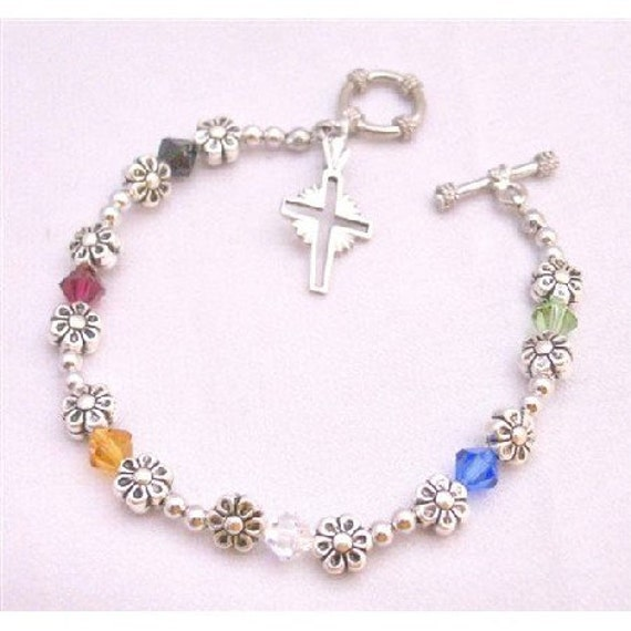 TB872 Handmade Salvation Bracelet Ruby Jet Sapphire Topaz Peridot and Clear Austrian Crystals with 92.5 Sterling Silver Cross Charm Bracelet