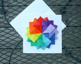 Origami Folded Rainbow Card