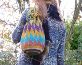 Vintage Woven DIAMOND SUNSPLASH Drawstring Bag Purse