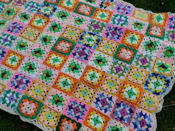 Vintage RAINBOW CANDY COLORED Hand Crocheted Granny Square Blanket