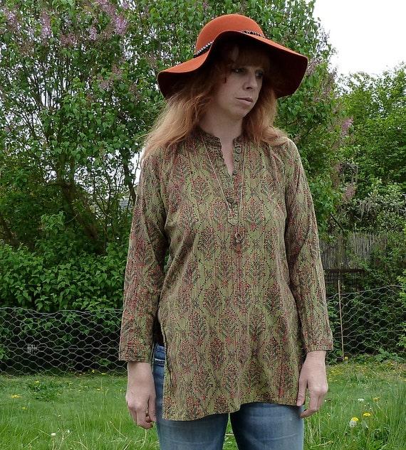 Vintage Woven MOSSY MEADOW Kaftan Tunic sz M