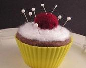 Pincushion - Chocolate Cupcake with Emery Cherry in Yellow Liner
