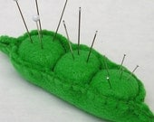 Emery Pincushion / Pin Cushion - Felt Pea Pod - Three Peas in a Pod