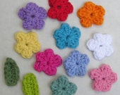 Appliques Patches - 10 small cotton crocheted flowers, 5 leaves.  You choose the colors.