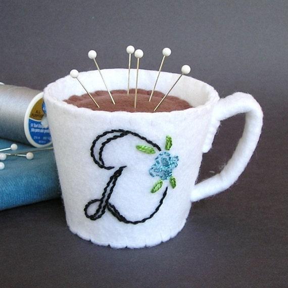 Emery Pincushion -  Felt Cup of Coffee / Hot Chocolate Personalized Monogram