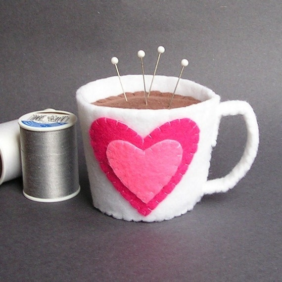Emery Pincushion - Valentine Felt Cup of Coffee / Hot Chocolate