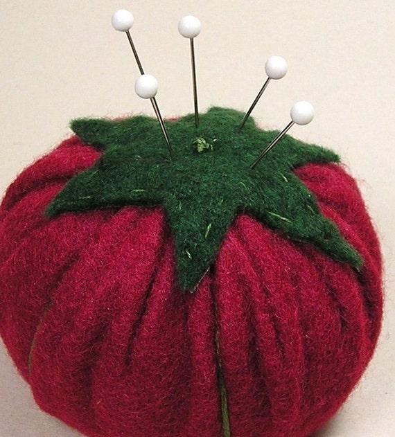 Emery Pincushion / Pin Cushion - Felt  Red Tomato