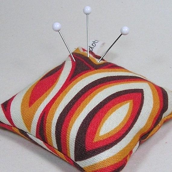 Emery Pincushion  / Pin Cushion -  Keeps Pins Sharp - Retro Orange, Brown, Gold