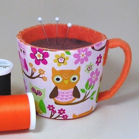 Emery Pincushion - Felt Cup of Coffee, Tea, or Latte - Your Choice - Owls and Flowers