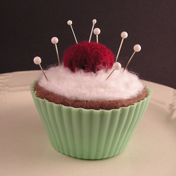 Cupcake Pincushion / Pin Cushion- Chocolate with Emery Cherry in Green Liner