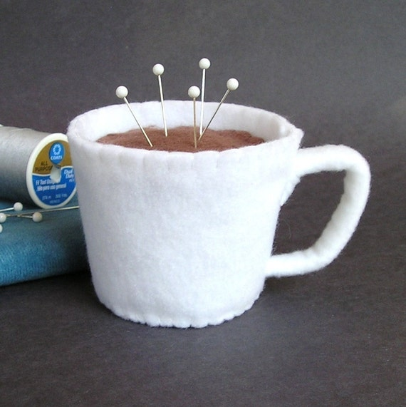 Emery Pincushion / Pin Cushion - Felt Cup of Coffee / Hot Chocolate