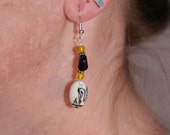 Pelican Earrings in Dark Blue Goldstone and Yellow
