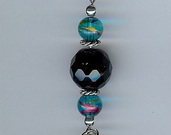 Pocket Watch Chain in Silver, Black, and Teal