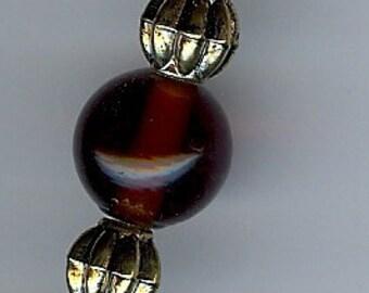 Pocket Watch Chain in Dark Amber, Brass, and Aqua