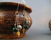 SHOP CLOSING CLEARANCE -  Conquest - Ocean Jasper and Glass Three Part Dangle Earrings