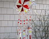 Fused Glass Wind Chimes / Abstract Flower / Red and Clear Glass Art