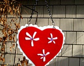 Fused dichroic Glass Heart Wall Hanging