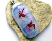 Flying High In the Clouds Fused Dichroic Glass Pendant