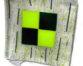 Green Plaid Sushi Dish Fused Glass Plate