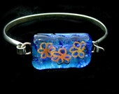 Fused Dichroic Glass Sterling Silver Bracelet