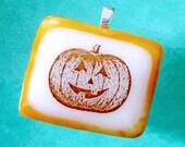 Halloween Pumpkin Fused Glass Pendant