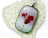 Red Flowers Fused Glass Pendant