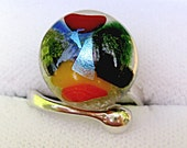 Fused Glass Dichroic Sterling Silver Adjustible Ring Call Me Colorful