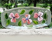 Dogwood Blossoms Fused Glass Platter