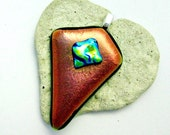 Dichroic Copper and Aqua Fused Glass Pendant
