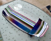 Colorful Dichroic and Iridised Stripes Fused Glass Platter