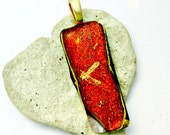 Fused Dichroic Glass Pendant - Gold and Red Dichroic Pendant