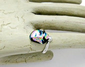 Fused Dichroic Glass Ring - Aqua and Pink Sterling Silver Ring