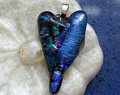 Blue Fused Dichroic Glass Heart Pendant