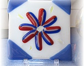 Fused Glass Tile - Red Dichroic on Red White and Blue Flower Tile