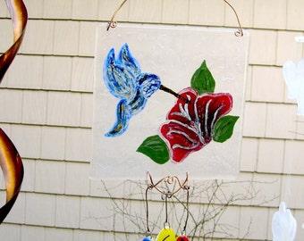 Painted Enamaled Hummingbird and Flower Fused Glass Windchime