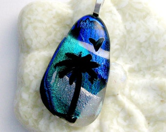 Palm Tree in Moonlight Dichroic Fused Glass Pendant