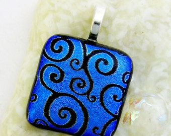 Dichroic Fused Glass Pendant - Squiggles Fused Glass Pendant