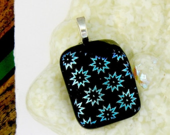 Abstract Flowers Fused Glass Pendant - Dichroic Fused Glass Pendant
