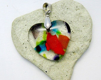 Fused Glass Jewelry - Heart Pendant - Colorful