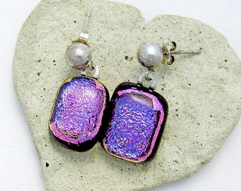 Dichroic Fused Glass Earrings Magenta Blue